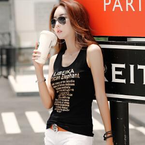 2017吊带小背心女短款打底外穿韩版棉质无袖夏季字母内搭修身小衫