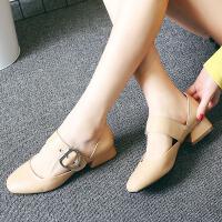 娜箐箐复古真皮中跟女鞋头层牛皮粗跟舒适女单鞋