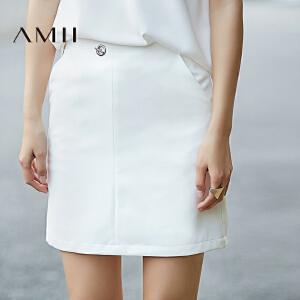 Amii[极简主义]2017春新通勤简约纯色小A型修身短半身裙11730112