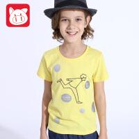 小猪班纳童装儿童短袖t恤男夏装2017新款中大童T恤男童纯棉体恤衫