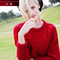 小虫 冬装新款立体麻花圆领羊毛衫针织衫套头毛衣女加厚保暖