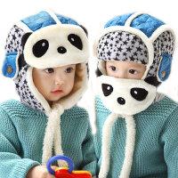 冬季宝宝口罩雷锋帽加绒护耳帽熊猫男女童