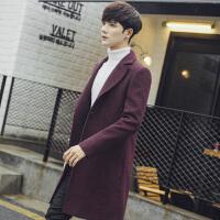 2014秋冬新款韩版显瘦双排扣中长款羊毛呢情侣外套毛呢大衣男