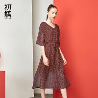 初语 2017夏装新款 欧美街头风V领印花波点中袖连衣裙女中长裙