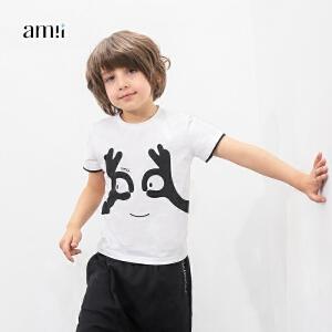 amii童装2017春夏新男童印花T恤中大童儿童搞怪图案短袖休闲T恤