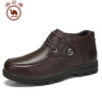 骆驼牌男鞋 头层皮休闲靴子圆头冬季潮流系带保暖男皮靴