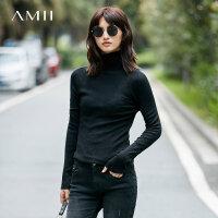 Amii[极简主义]秋装2017新款多色高领衫长袖修身打底毛衣11722935