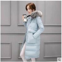 韩国女士大毛领大码加厚轻薄中长款 潮流棉衣外套时尚冬季羽绒服