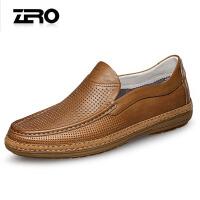 Zero零度镂空男鞋 夏季男休闲鞋真皮皮鞋透气乐福鞋凉皮鞋驾车鞋R72087