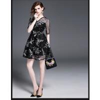 女装新款中袖小香风修身花色印花时尚网纱拼接大摆连衣裙   可礼品卡支付