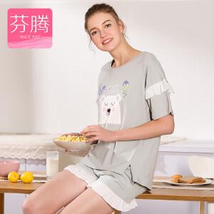 芬腾睡衣女短袖棉质卡通可爱短裤家居服套装