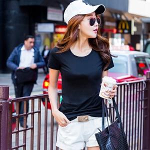 夏季纯色短袖T恤女韩版修身半袖T��上衣学生百搭打底衫白色体恤棉ZY3856