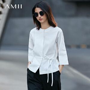 Amii[极简主义]2017春新女大码通勤落肩袖层次绑带衬衫11770432