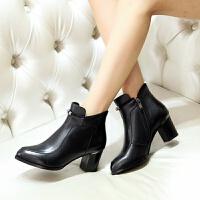 娜箐箐冬新款欧美牛皮粗跟尖头水钻短靴女鞋高跟真皮骑士女靴