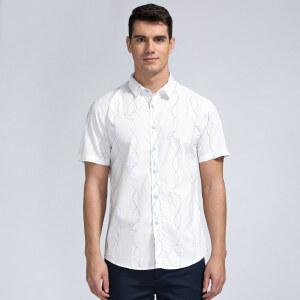才子男装(TRIES)短袖衬衫 男士2017年新款时尚波浪条纹棉质简约舒适休闲短袖衬衫