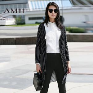 【AMII超级大牌日】[极简主义]2017年春长袖竖条纹针织开衫拉链中长款外套11692047