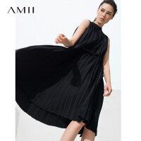 Amii[极简主义]2017夏装设计师合作款直筒腰带压褶连衣裙11713521