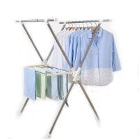 家用阳台室内外伸缩晒衣架晾衣架落地折叠双杆式不锈钢毛巾架