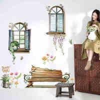 窗外林荫墙贴纸卧室浪漫温馨家饰客厅电视墙沙发背景墙儿童房贴画
