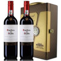 智利原瓶原装进口红酒 干露红魔鬼赤霞珠2014年红葡萄酒 双支礼盒装