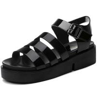 古奇天伦 时尚镜面深口凉鞋女 金属搭扣女鞋子 防水台女鞋子 8629