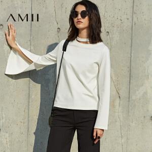 【预售】Amii2017春女纯色镂空领圈带挂脖喇叭长袖T恤11790320