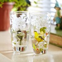 爱屋格林evergreen印花玻璃杯凉水杯牛奶杯果汁杯情侣杯耐热对杯