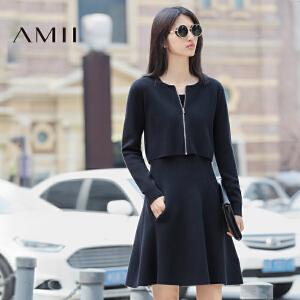 【AMII超级大牌日】2017年春季秋装毛针织套装女潮两件套时尚连衣裙子外套
