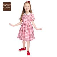【夏季清仓】binpaw童装儿童连衣裙女夏装新款格子女童公主裙2017中大童格子裙子