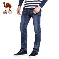 骆驼&熊猫联名系列男装 时尚青年合体直筒加绒加厚牛仔裤男长裤子