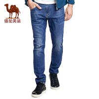 骆驼男装 2017春季新款时尚青年棉质长裤子商务休闲直筒牛仔裤男