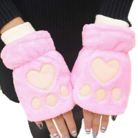 保暖半指手套女冬 可爱学生季针织厚加绒露指男女通用