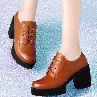 高跟鞋女新款古奇天伦春季粗跟单鞋防水台黑色皮鞋女工作鞋81400