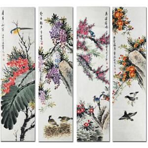 中国美院姜小英《花鸟四条屏1》