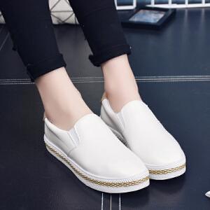 妃枫霏春季新款英伦女单鞋厚底小白鞋时尚平跟套脚休闲鞋学生鞋