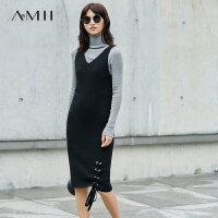 Amii[极简主义] 2017秋装新款修身大V领绑带无袖连衣裙11774781