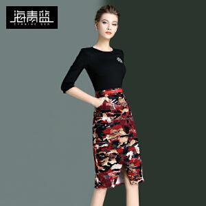海青蓝2017春季新款七分袖修身包臀一步裙印花气质优雅连衣裙6532