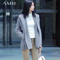【AMII超级大牌日】[极简主义]2016冬装新品翻领连帽插袋中长款毛衣外套女装