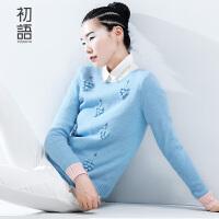 初语冬季新品钩织葡萄长袖圆领套头毛衣针织衫女8540323001