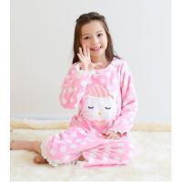 儿童睡裙连体花边睡衣长袖法兰绒睡衣家居服女童睡裙珊瑚绒