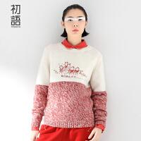 初语潮牌冬新款印花套头毛衣女长袖针织衫薄款 女8530323033