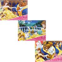 迪士尼拼图 美女与野兽三合一拼图儿童玩具(古部拼图公主女孩100片2708+200片2709+300片2710)