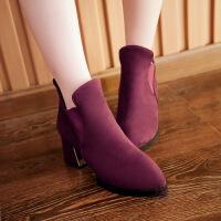 粗跟尖头套脚及裸靴子女冬短筒靴英伦马丁靴秋冬新款女靴子