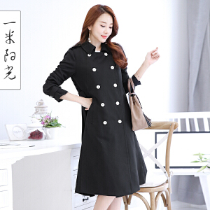 一米阳光2017春季新款韩版双排扣风衣女装中长款长袖外套