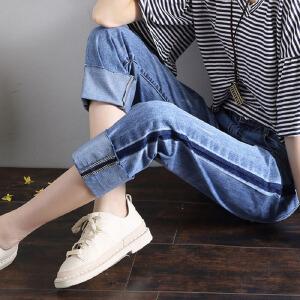 2017夏季牛仔阔腿裤女宽松九分bf风潮流直筒学生裤子韩版