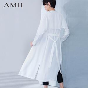 Amii[极简主义] 2017春装新款休闲薄款中长袖风衣女外套11611175