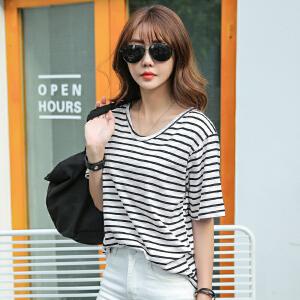 2017时尚V领女士春夏新款条纹短袖拉架棉宽松T恤BB17111