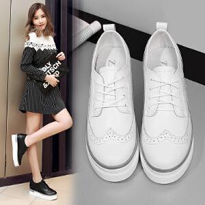 ZHR2017春季新款英伦厚底休闲鞋布洛克平底单鞋真皮内增高女鞋B23