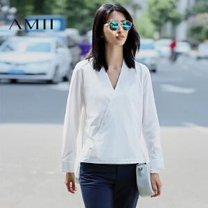 【AMII超级大牌日】[极简主义]2017年春新女休闲常规款不规则前短后长V领长袖衬衫