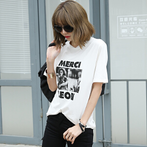 经典圆领印个性花短袖T恤2017夏季新款韩版女装BB17140